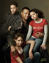 Terrence Howard & his children Hunter, Ashley, and Heaven