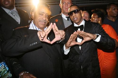 Al Sharpton and Jay throwing up the Roc