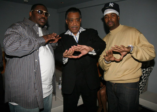 Beanie Sigel, Al Sharpton, and Memphis Bleek at the 40/40 club opening