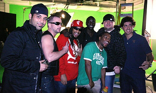 "Dale 'Rage' Resteghini (2nd from left), Lil Jon, Akon, DJ Felli Fel and others on set of ""Get Buck In Here"""
