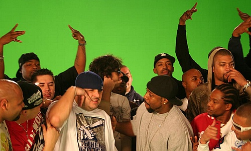 "Comedian DeRay Davis in the mix (far right) on set of ""Get Buck In Here"""