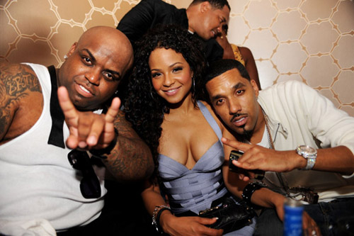 Cee-Lo, Christina Milian, and Dre at Delano NYE 07/08