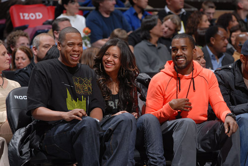 Jay-Z, Beyonce, and Kanye West at the Nets/SuperSonics game