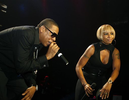 Jay-Z and Mary J Blige at the Pearl