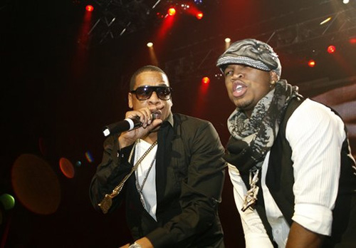 Jay-Z and Ne-Yo at the Pearl