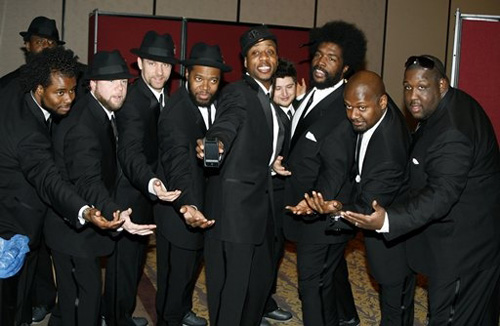 The Roots backstage at the Pearl