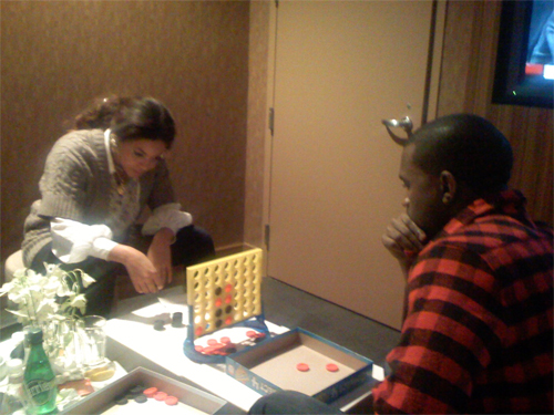 Beyonce and Kanye West playing Connect 4