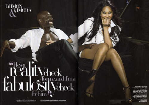 Djimon Hounsou and Kimora Lee Simmons Featured in Harper's Bazaar
