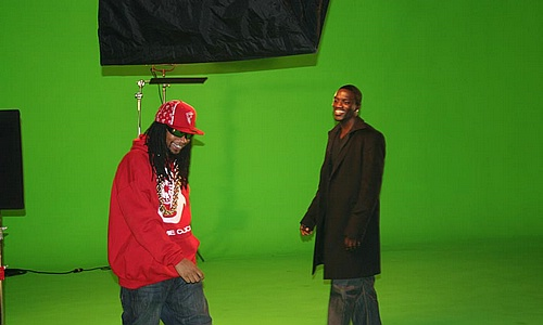 "Lil' Jon and Akon on set of ""Get Buck In Here"""