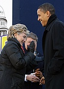 Hillary Clinton and Barack Obama share a laugh at MLK Day at the Dome in SC