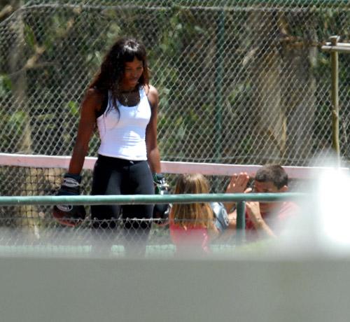 Naomi Campbell box training in Uruguay