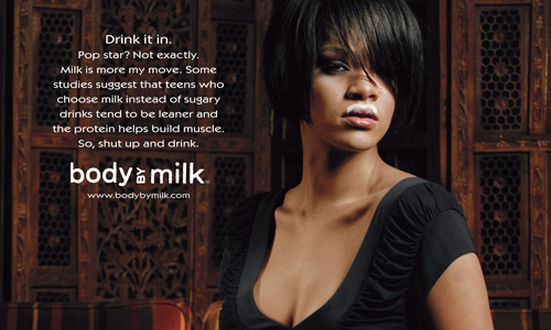 "Rihanna posing in a new ""Got Milk?"" ad"