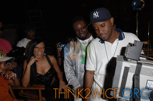 "Lil Mama, T-Pain, and (director) R. Malcom Jones on the set of ""Shawty Get Loose"""