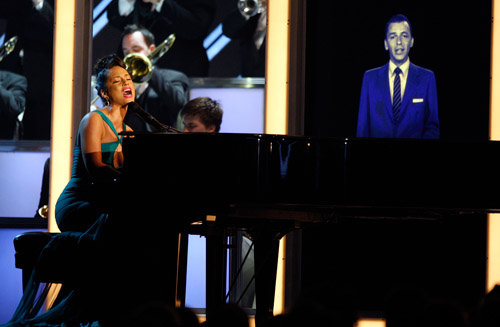 Alicia Keys & Frank Sinatra (R.I.P.) performing at the 50th Annual Grammys