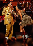 Rihanna and Morris Day & The Time perform at the 50th Annual Grammy Awards