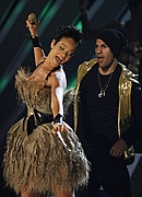 Rihanna performs at the 50th Annual Grammy Awards