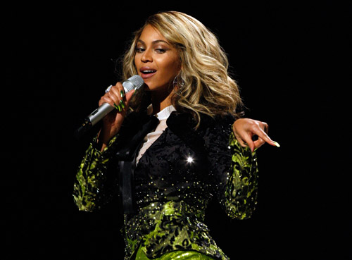 Beyonce performs at the 50th Annual Grammys
