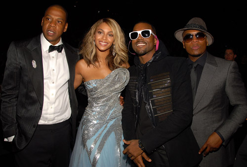 Jay-Z, Beyonce, Kanye, and Ne-Yo backstage at the 50th Annual Grammys