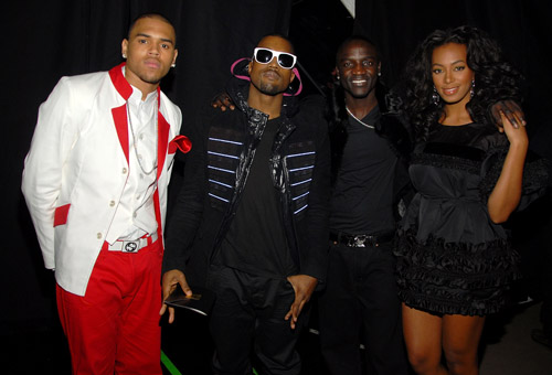 Chris Brown, Kanye, Akon, and Solange backstage at the 50th Annual Grammys