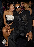 Kanye and Alexis in the audience at the 50th Annual Grammys