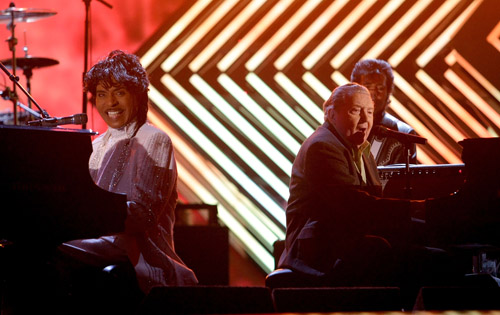 Little Richard & Jerry Lee Lewis perform at the 50th Annual Grammys