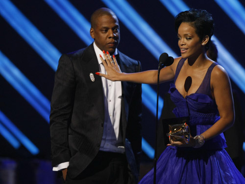 Rihanna accepts her award at the 50th Annual Grammys
