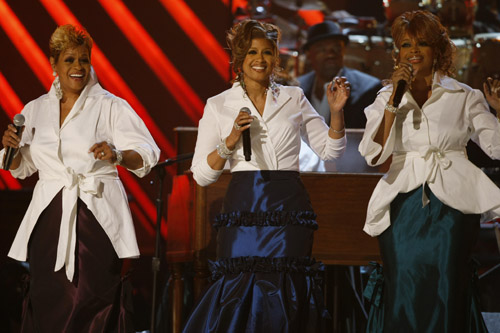 The Clark Sisters perform at the 50th Annual Grammys
