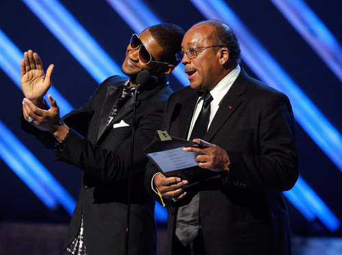 Usher & Quincy Jones present an award at the 50th Annual Grammys