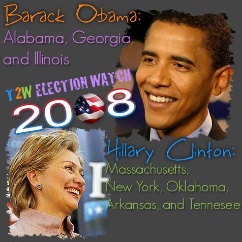 Super Tuesday: Barack Obama Takes Georgia, Illinois, and Alabama; Hillary Clinton Wins Massachusetts, New York, Oklahoma, Arkansas and Tennessee
