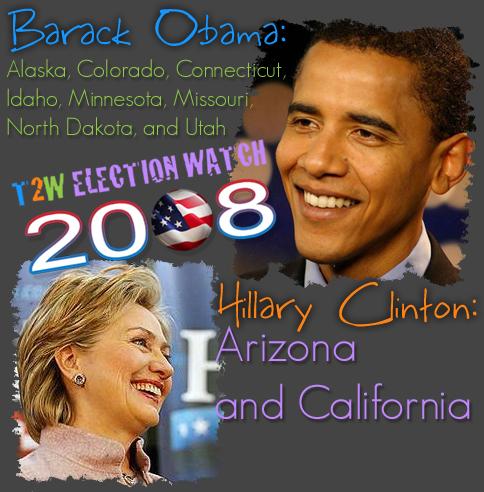 Super Tuesday: Obama Wins Alaska, Colorado, Connecticut, Idaho, Minnesota, Missouri, North Dakota, and Utah; Clinton Wins Arizona and California