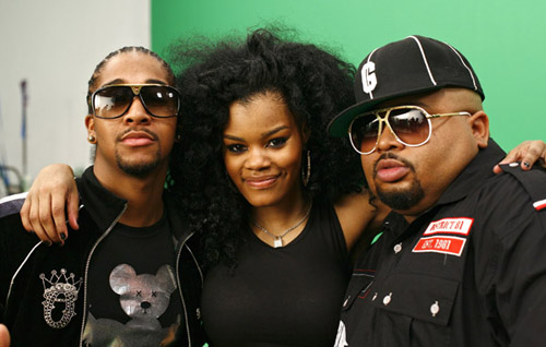 """Omarion, Teyana Taylor, and Jazze Pha on the set of """"Google Me, Baby"""""""