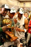 Kevin Garnett, Paul Pierce and Ray Allen Hold The Finals Championship Larry O\'Brien Thropy!