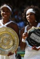 Venus & Serena Williams Poses For 2008 Wimbeldon Championship Awarding