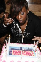 Missy blowing out her candles