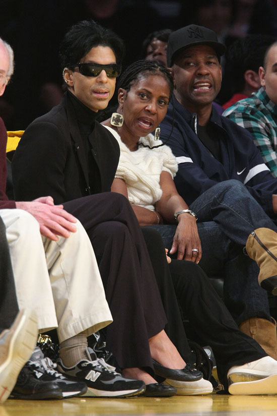 Prince, Pauletta Washington and Denzel Washington