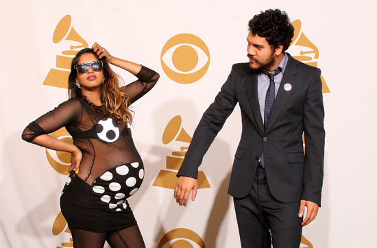 M.I.A. and (fiancee) Ben Brewer // 2009 Grammy Awards Press Room