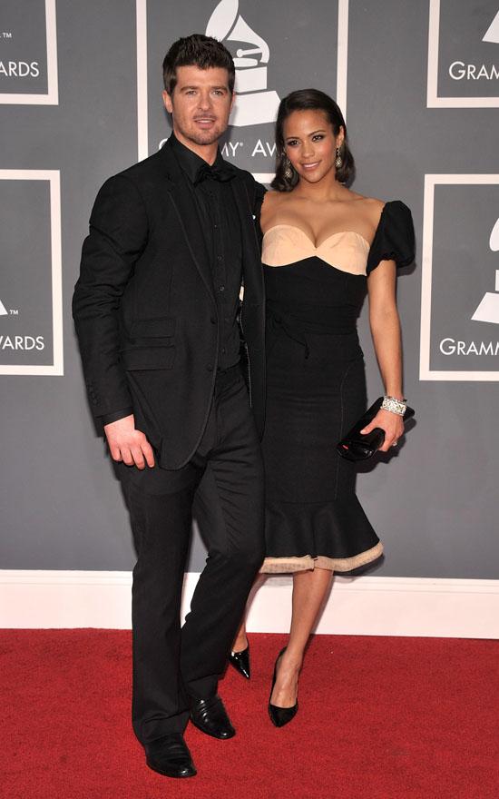 Robin Thicke & Paula Patton Grammy 2009 Grammyred31