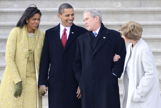 First Lady Michelle Obama, President Barack Obama, Former President George Bush and Former First Lady Laura Bush // Inauguration \'09