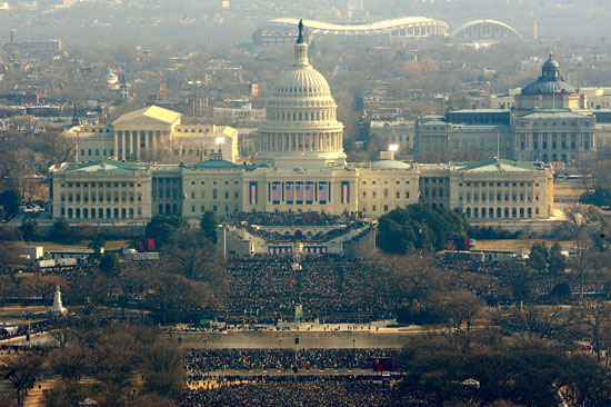 A sky view of the Inauguration ceremonies in D.C.