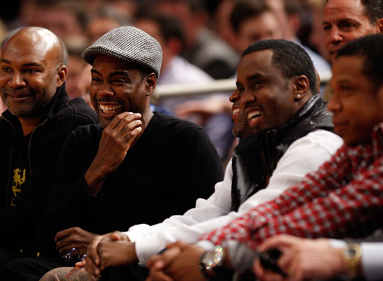 Chris Rock, Diddy & Jay-Z // Knicks vs. Cavs basketball game (02.04.09)