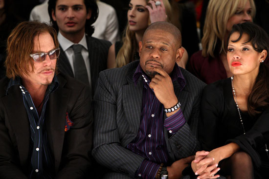 Mickey Rourke, Forest Whitaker and Keisha Whitaker // Domenico Vacca Fall '09 Fashion Show