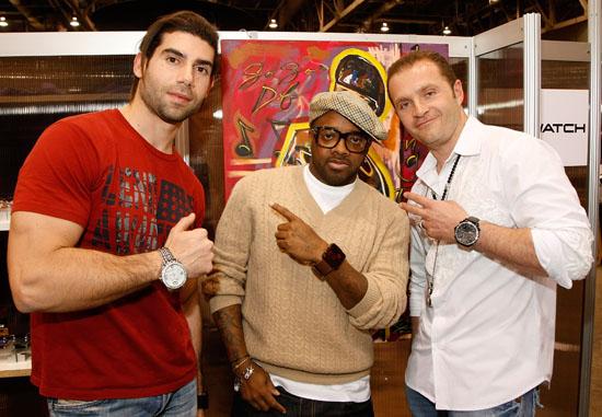Pop Watch designer David Asseily, Jermaine Dupri and jeweler Pascal Mouawad // Pop Watch launch in Vegas