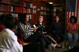 Alicia Keys & U.S. Army Gen. Ann Dunwoody // D.C. High School visit for Women\'s History Month