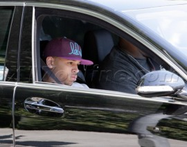 Chris Brown riding around Beverly Hills lookig sad (Mar. 18th 2009)