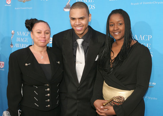Joyce Hawkins (CB's mom), Chris Brown and Tina Davis (CB's manager)