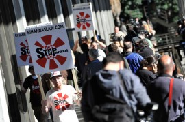 Protesters outside of the Los Angeles Superior Court // Chris Brown\'s Arraignment (Mar. 5th 2009)
