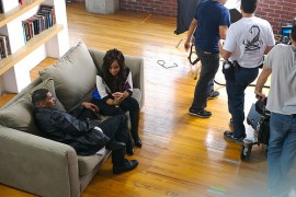 "Lisa Raye & Ginuwine on the set of Ginuwine\'s \""Last Chance\"" music video"