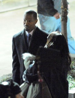 "Jamie Foxx on the set of ""Law Abiding Citizen\"" in Philadelphia"