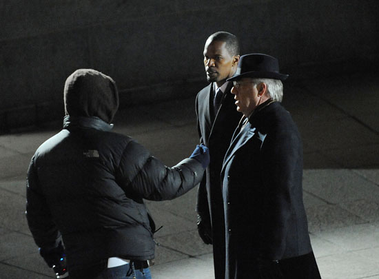 "Jamie Foxx & Bruce McGill on the set of ""Law Abiding Citizen"" in Philadelphia"