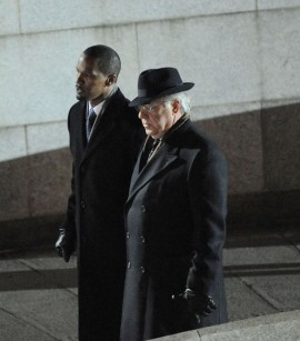 "Jamie Foxx & Bruce McGill on the set of ""Law Abiding Citizen\"" in Philadelphia"